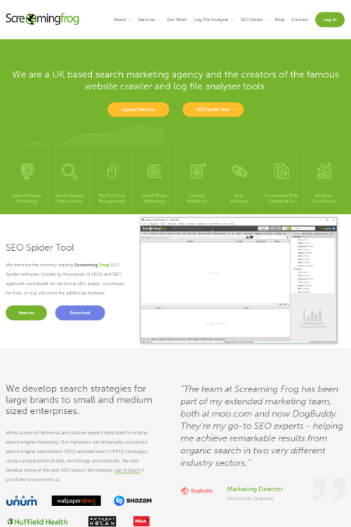 screamingfrog.co.uk - keywords and competitors